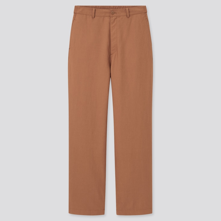 Women Linen Blend Relaxed Straight Pants, Brown, Large