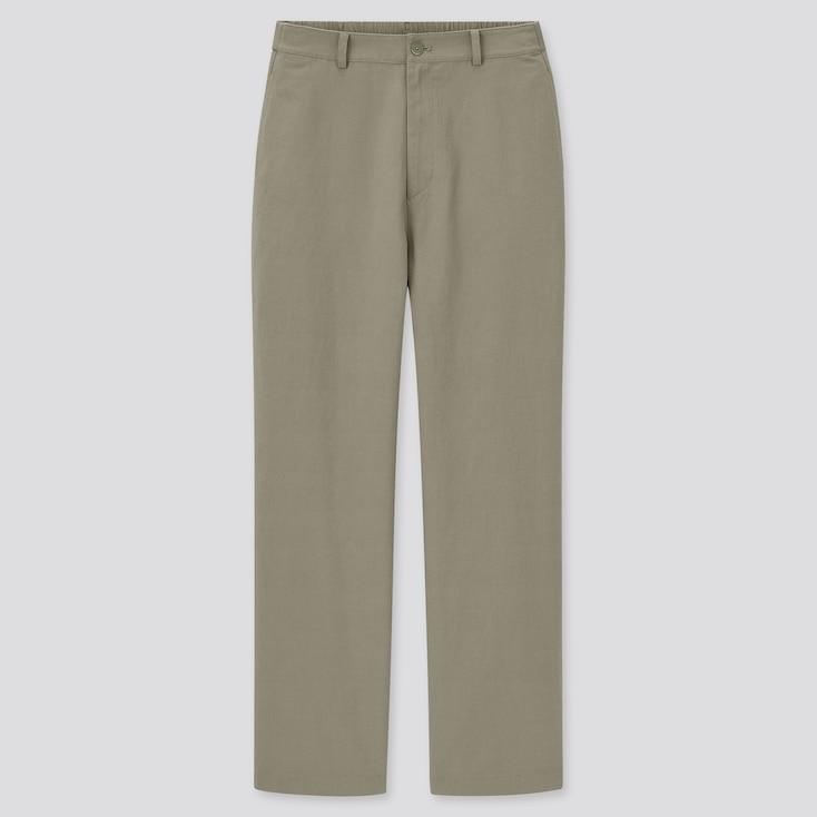 Women Linen Blend Relaxed Straight Pants, Green, Large