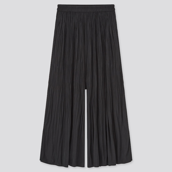 Women Satin Side-Slit Washer Skirt Pants, Black, Large