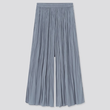 Women Satin Side-Slit Washer Skirt Pants, Blue, Medium