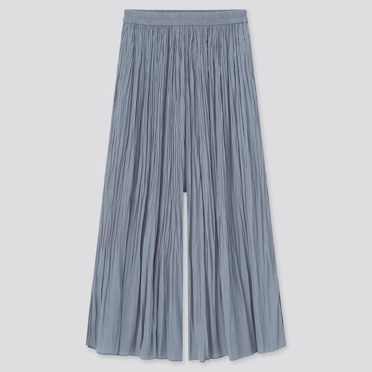 Women Satin Side-Slit Washer Skirt Pants, Blue, Large