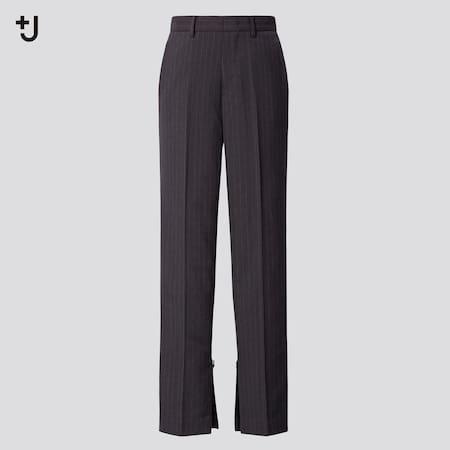 Women +J Wool Blend Slim Fit Striped Trousers