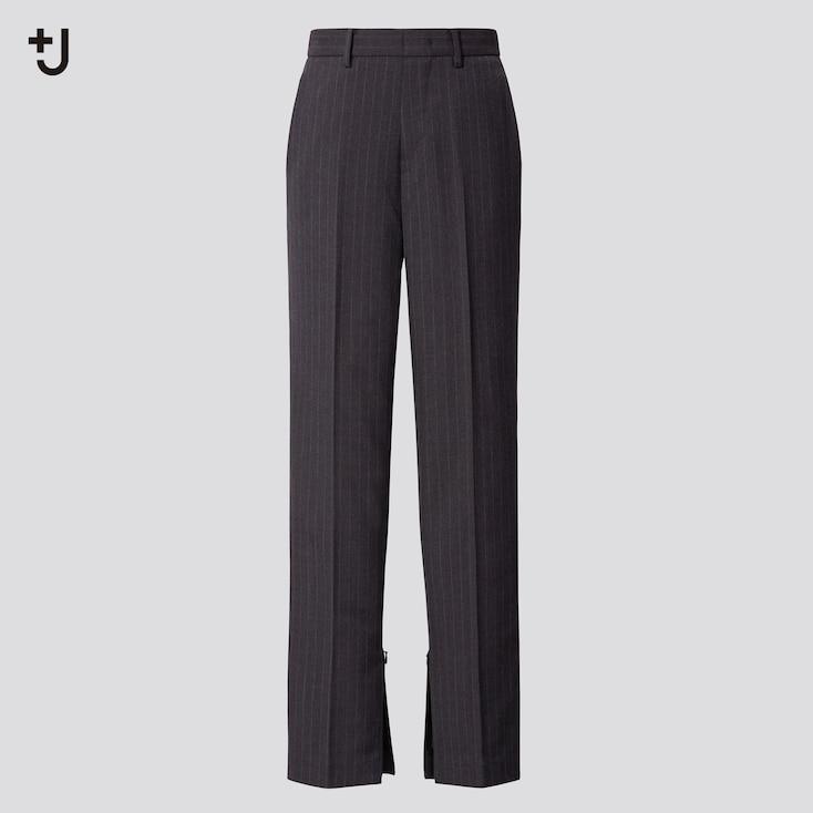 Women +J Wool-Blend Slim Pants, Gray, Large