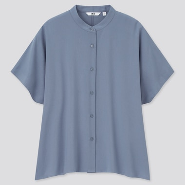 Women Rayon Short-Sleeve Blouse, Gray, Medium