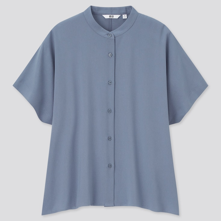 Women Rayon Short-Sleeve Blouse, Gray, Large