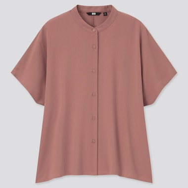 Women Rayon Short-Sleeve Blouse, Brown, Medium