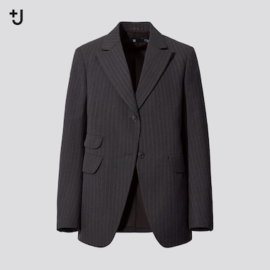Women +J Wool Blend Striped Tailored Jacket