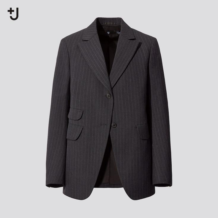 Women +J Wool-Blend Striped Tailored Jacket, Gray, Large