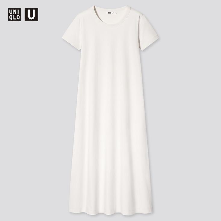 Women U Airism Cotton A-Line Short-Sleeve Long Dress, Off White, Large