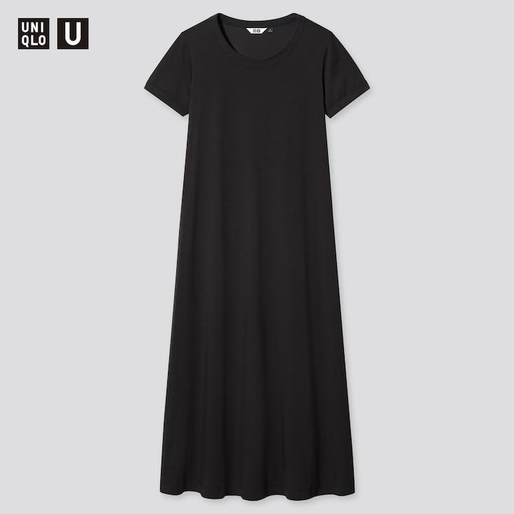 Women U Airism Cotton A-Line Short-Sleeve Long Dress, Black, Large