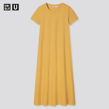 Damen UNIQLO U Langes kurzärmliges AIRism Baumwollkleid in A-Linie