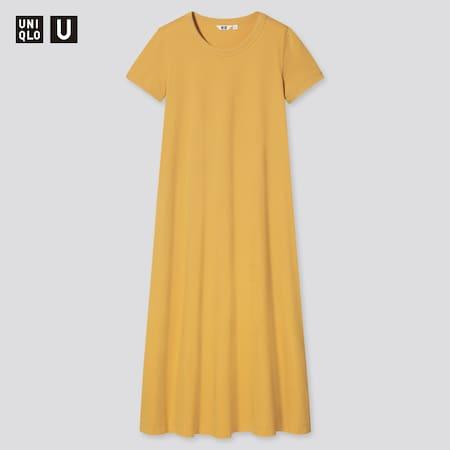 Damen UNIQLO U Langes kurzärmliges AIRism Baumwollkleid in A-Linie