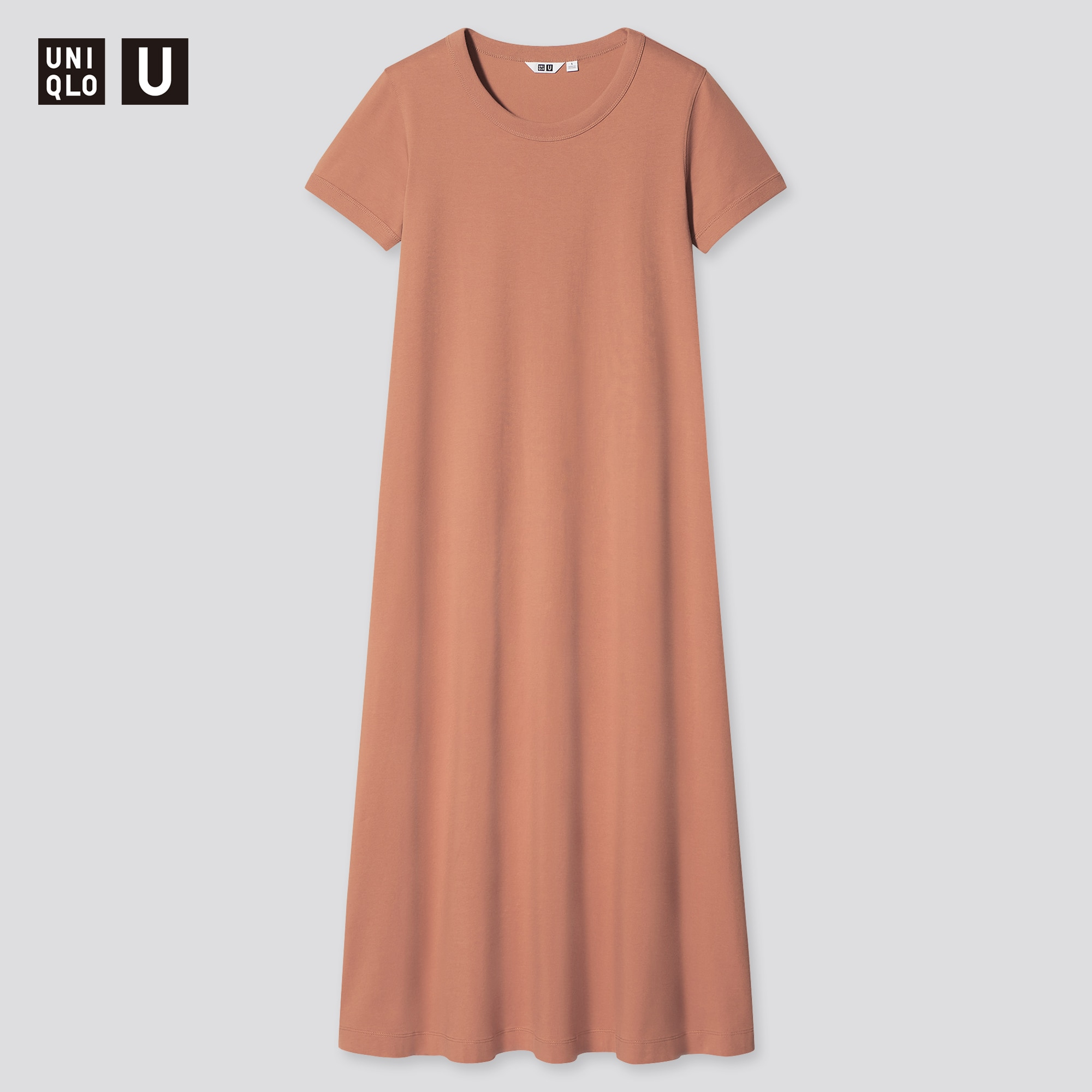 WOMEN U AIRISM COTTON A-LINE SHORT-SLEEVE LONG DRESS