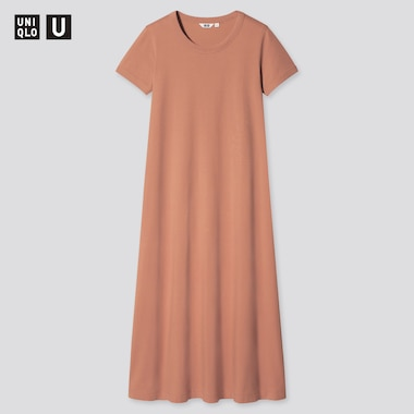 Women Uniqlo U AIRism Cotton Short Sleeved Long Dress