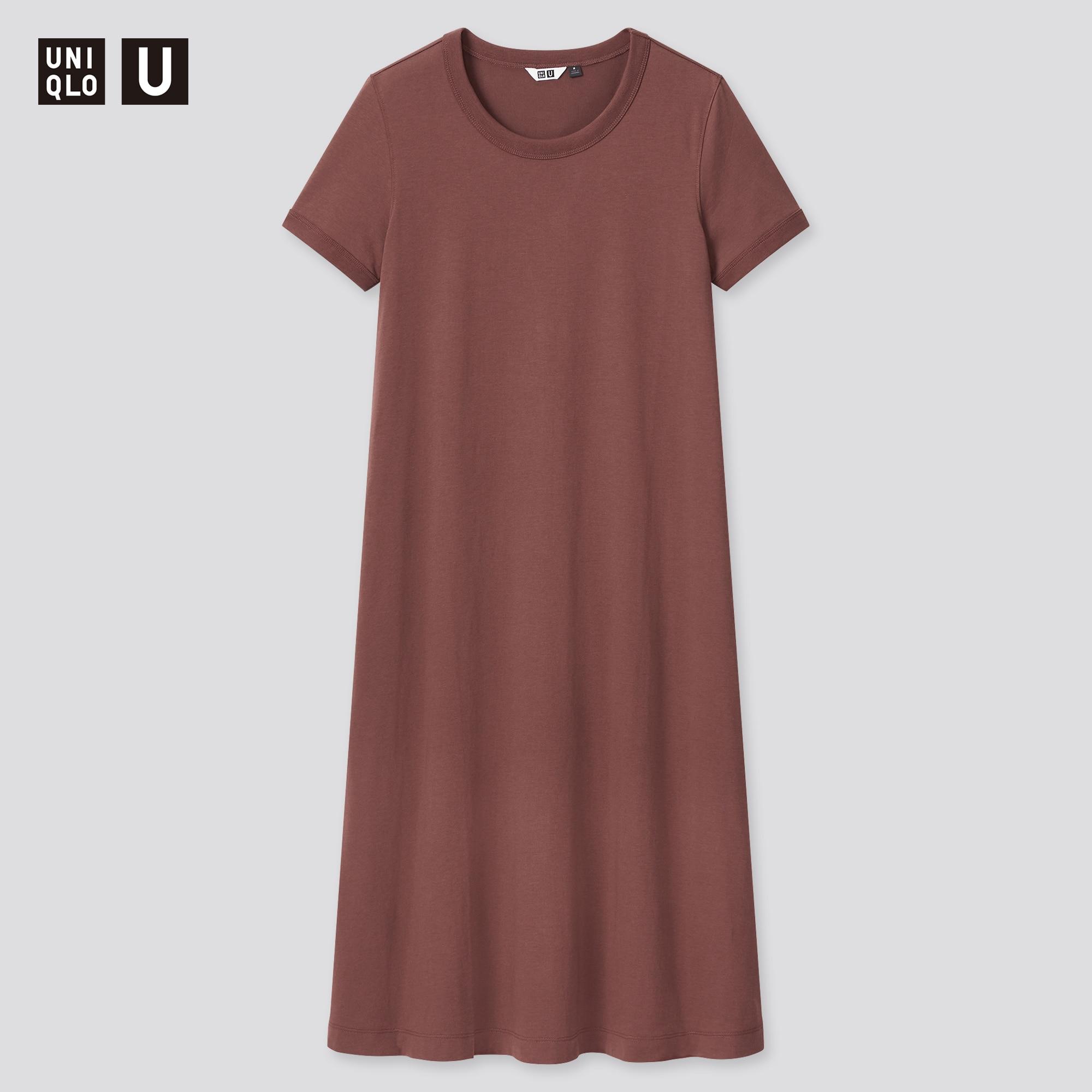WOMEN U AIRism COTTON SHORT-SLEEVE LONG DRESS