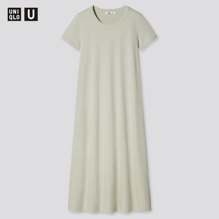 Women U Airism Cotton A-Line Short-Sleeve Long Dress, Light Green, Large