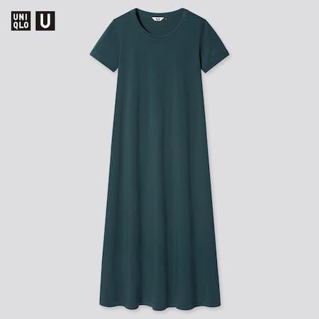 Women Uniqlo U AIRism Cotton Short Sleeved Long Dress