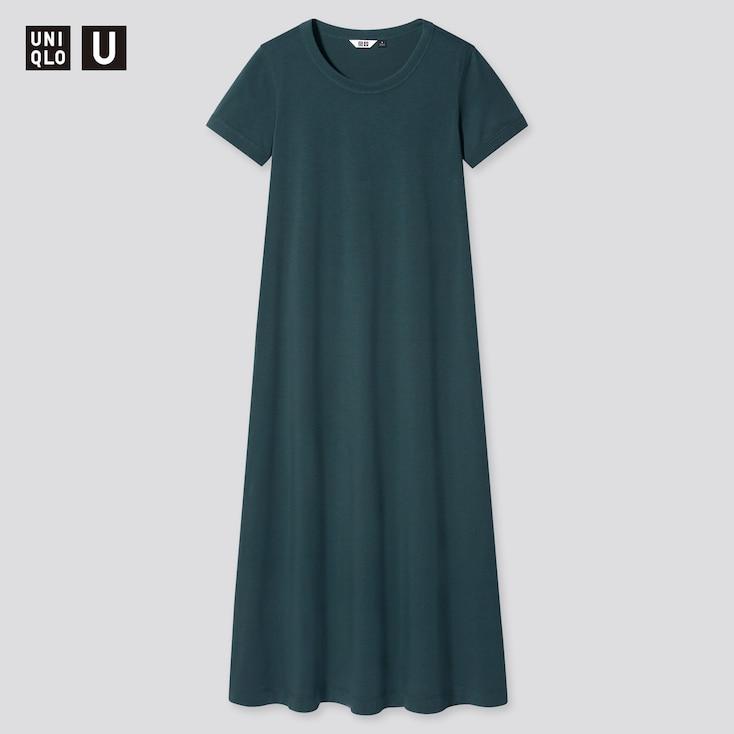 Women U Airism Cotton A-Line Short-Sleeve Long Dress, Dark Green, Large