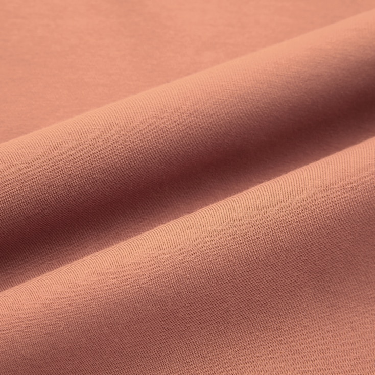 Women U Airism Cotton Short-Sleeve Long Dress, Dark Brown, Large