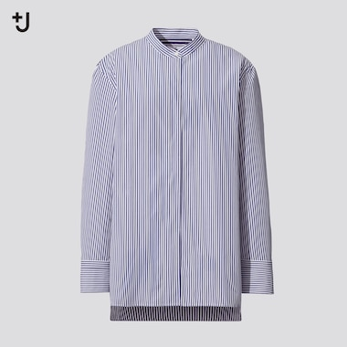 Women +J Supima Cotton Stand Collar Striped Shirt