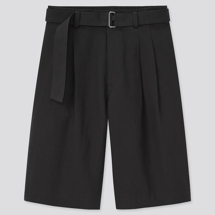 Women Linen Blend Belted Culottes, Black, Large