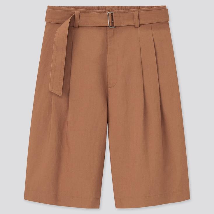 Women Linen Blend Belted Culottes, Brown, Large