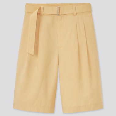 Women Linen Blend Belted Culottes, Yellow, Medium