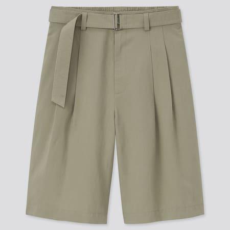 Pantaloni Culotte Misto Lino Con Cintura Donna