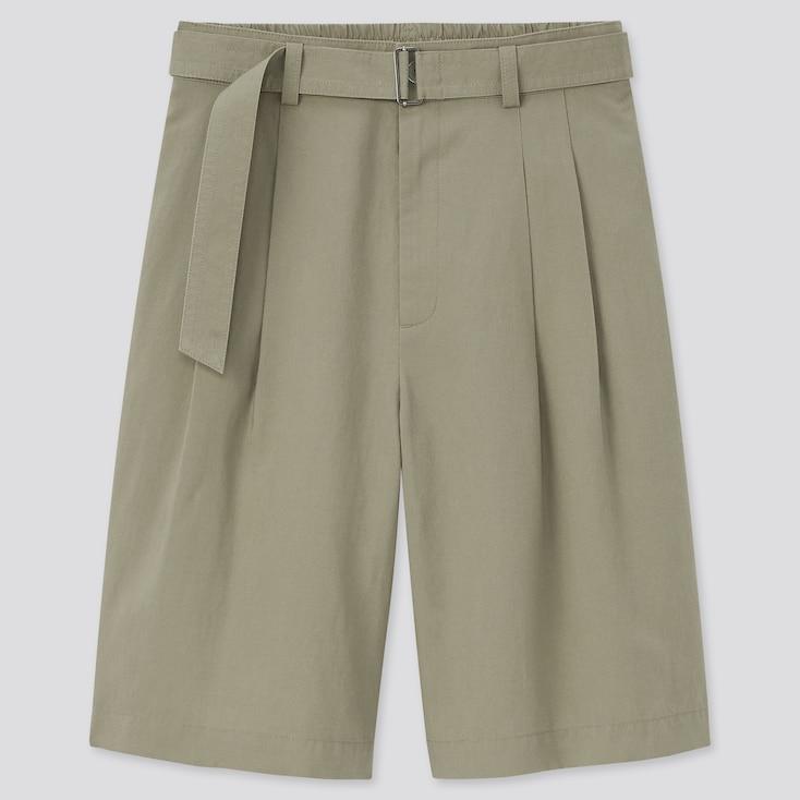 Women Linen Blend Belted Culottes, Green, Large
