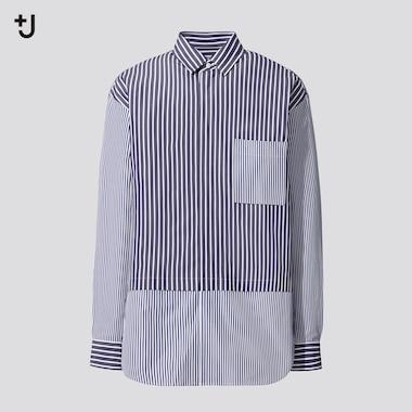 Men +J Supima Cotton Loose Fit Shirt (Half Button-Down Collar)