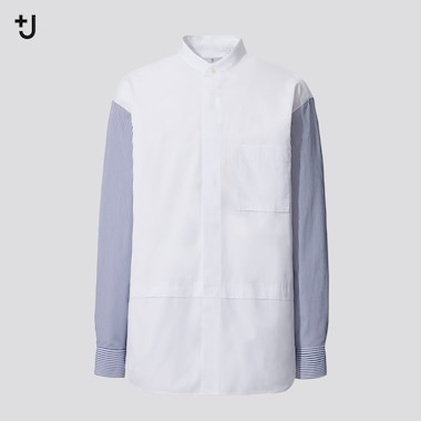 Men +J Supima Cotton Oversized Fit Shirt (Stand Collar)