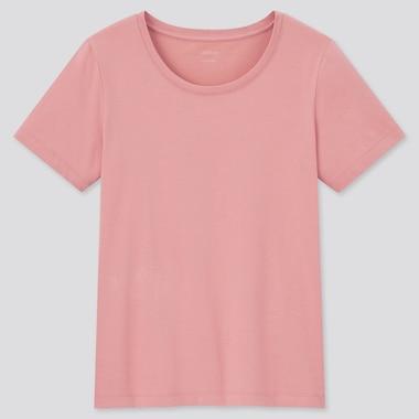 Women Airism Cotton Crew Neck Short-Sleeve T-Shirt, Pink, Medium
