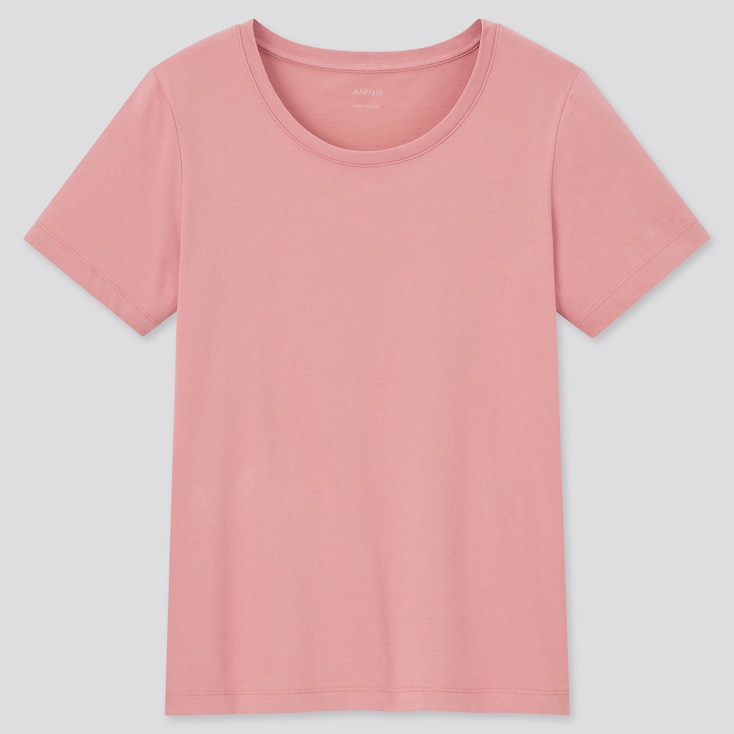 Women Airism Cotton Crew Neck Short-Sleeve T-Shirt, Pink, Large