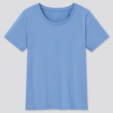 Women Airism Cotton Crew Neck Short-Sleeve T-Shirt, Blue, Medium