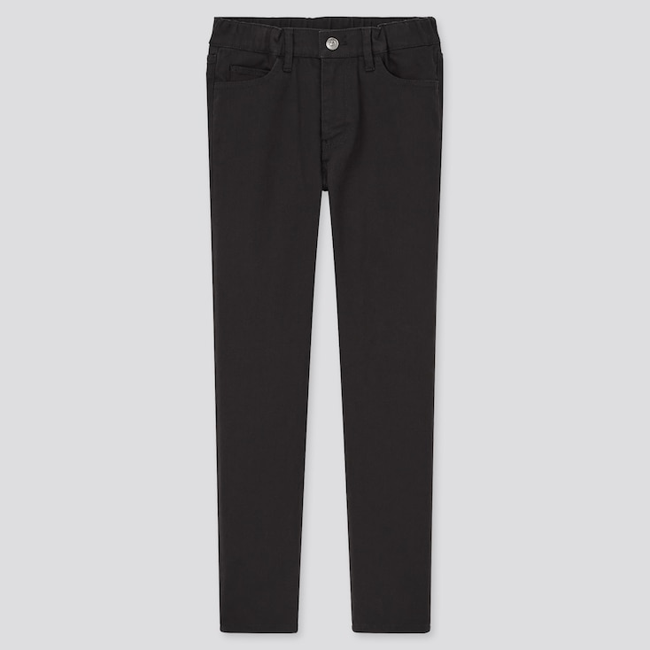 Kids Ultra Stretch Zip-Fly Slim-Fit Pants, Black, Large