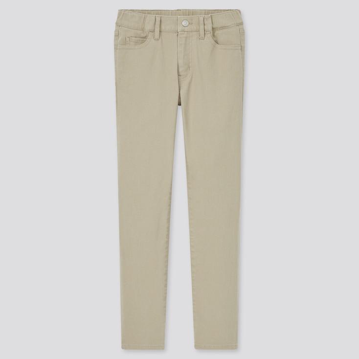 Kids Ultra Stretch Zip-Fly Slim-Fit Pants, Beige, Large