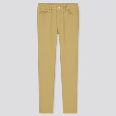 Kids Ultra Stretch Zip-Fly Slim-Fit Pants, Yellow, Medium