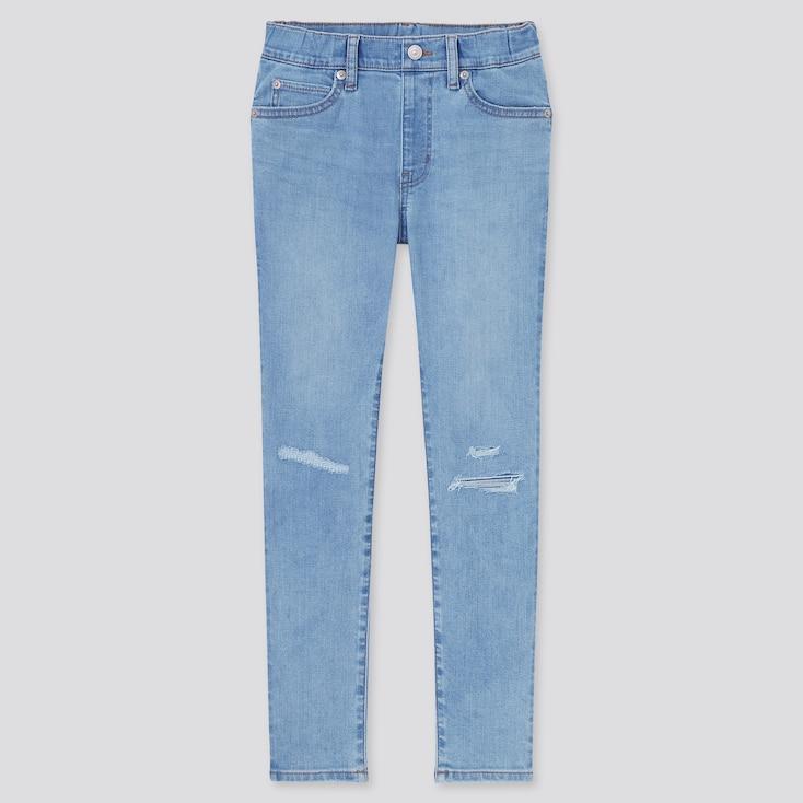 Kids Ultra Stretch Denim Pull-On Slim-Fit Pants, Blue, Large