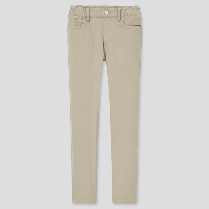 Kids Ultra Stretch Pull-On Slim-Fit Pants, Beige, Large