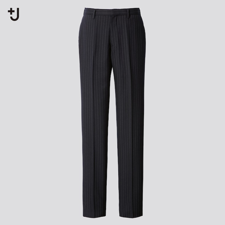 Men +J Wool-Blend Striped Pants, Navy, Large