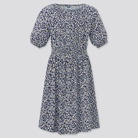 Girls Flower Printed Short Sleeve Dress