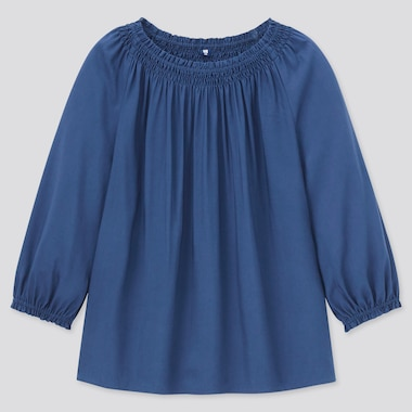 Girls 3/4-Sleeve Blouse, Blue, Medium