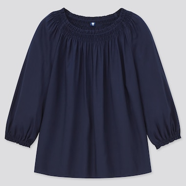 Girls 3/4-Sleeve Blouse, Navy, Medium