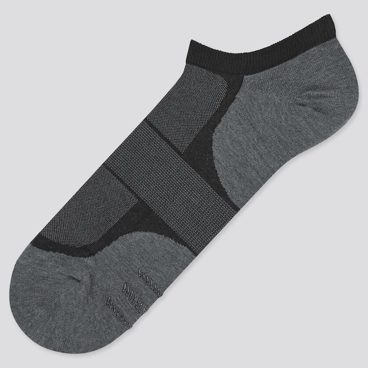 Men Color Block Short Socks, Black, Large