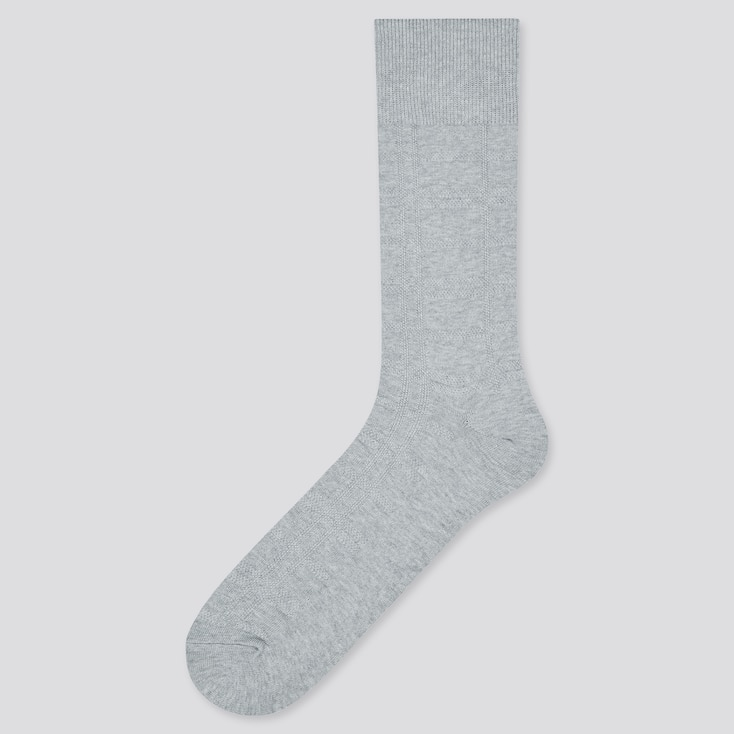 Men Supima¸ Cotton Pique Checked Socks, Gray, Large