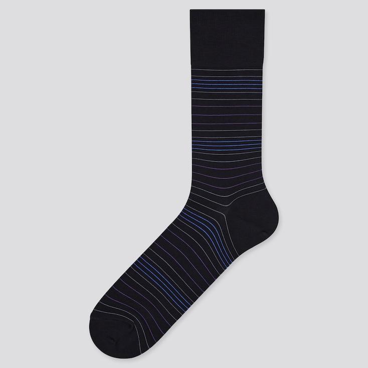 Men Gradation Striped Socks, Black, Large