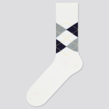 Men Argyle Socks, White, Medium