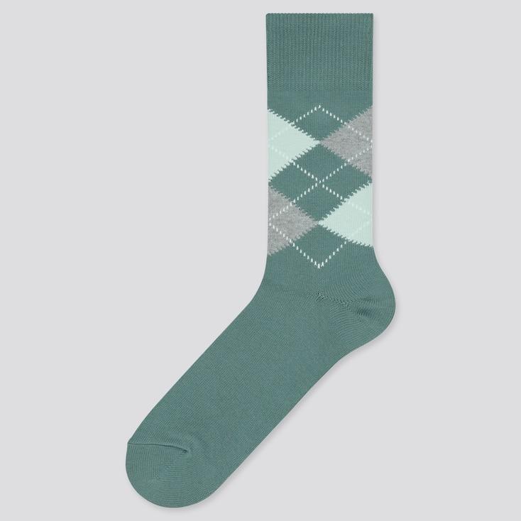 Men Argyle Socks, Dark Green, Large