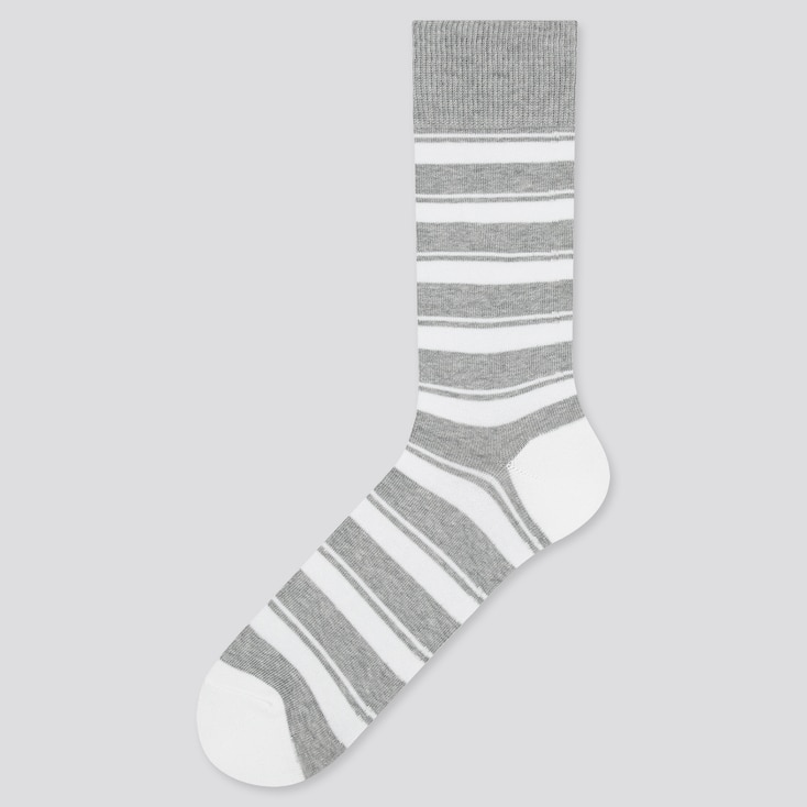 Men Striped Socks, Gray, Large
