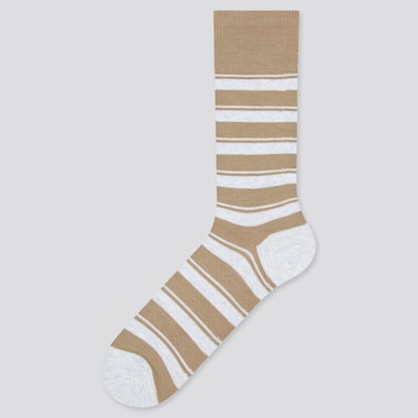 Men Striped Socks, Beige, Medium